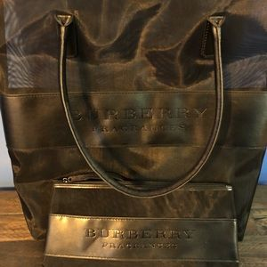 Burberry tote and cosmetic bag
